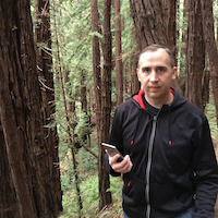 ryan uses facebook messenger to contact customer service outside in trees
