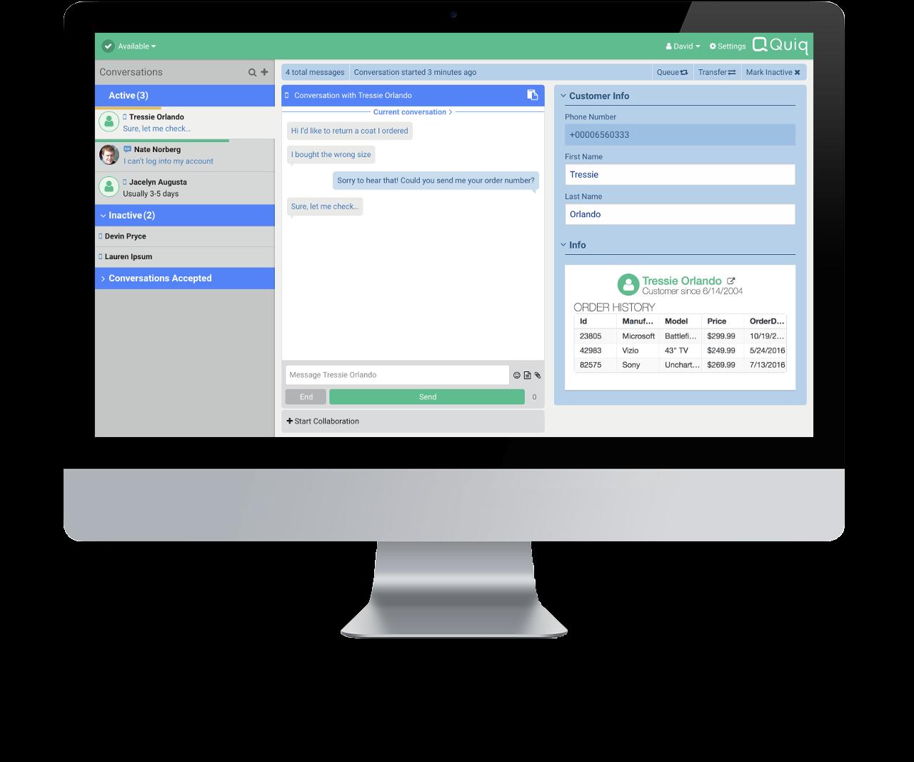 Quiq customer messaging agent workspace displayed on computer desktop