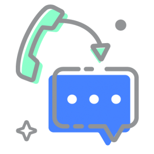 Phone and text bubble icon illustrating convert call to text functionality