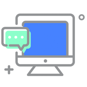 Desktop computer scree icon with Web Chat bubble