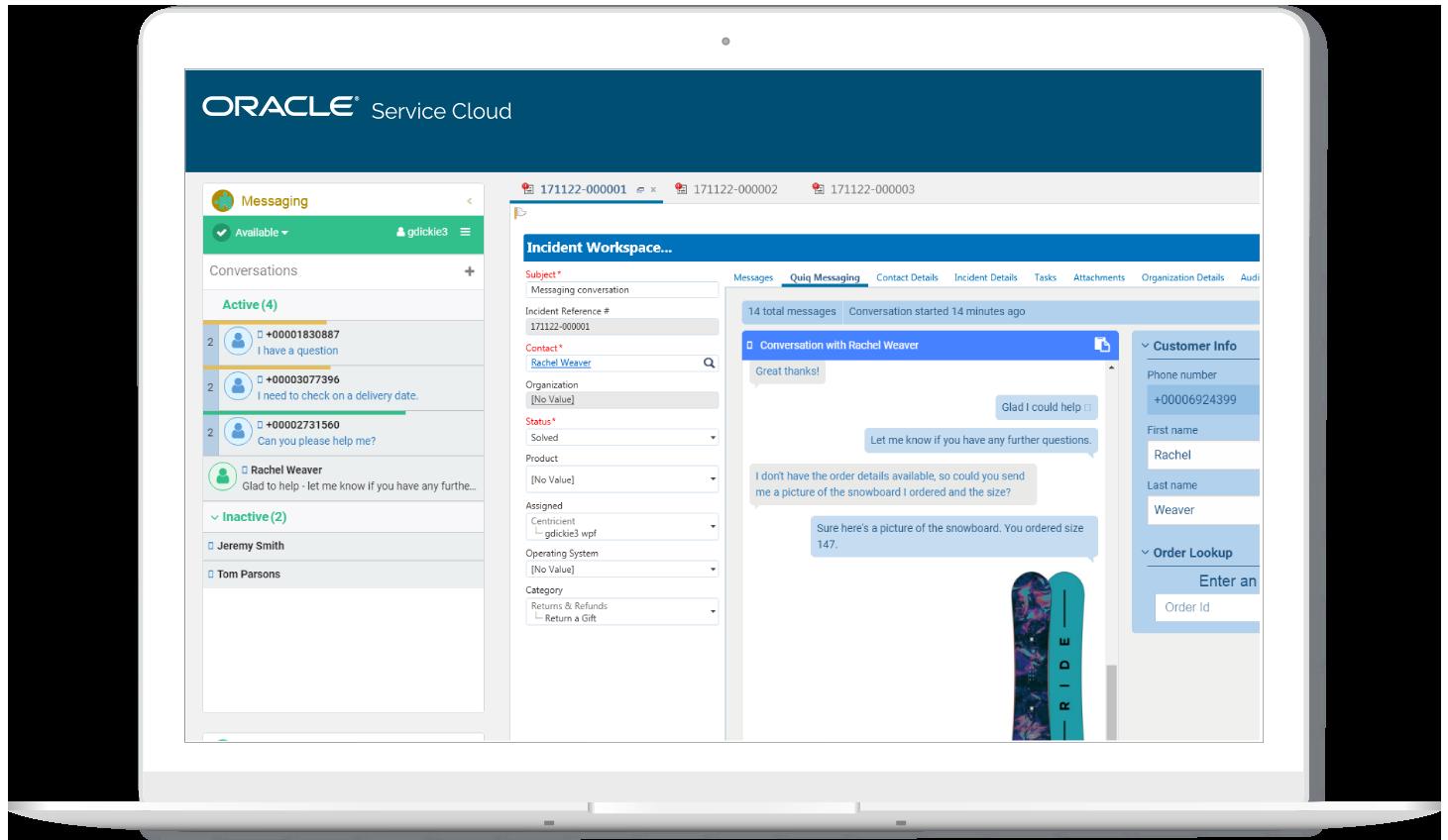 screenshot of Oracle service cloud on a Mac computer