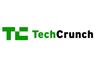 TechCrunch log with black and green text and green logo
