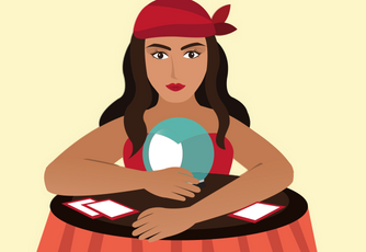 Graphic of fortune telling woman in front of a crystal ball