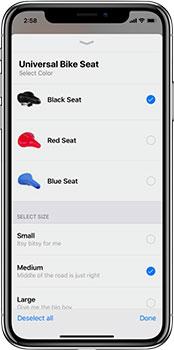 Universal bike seat ecommerce screenshot on iPhone