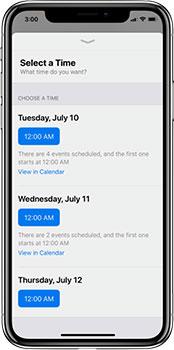 select a time iPhone screenshot