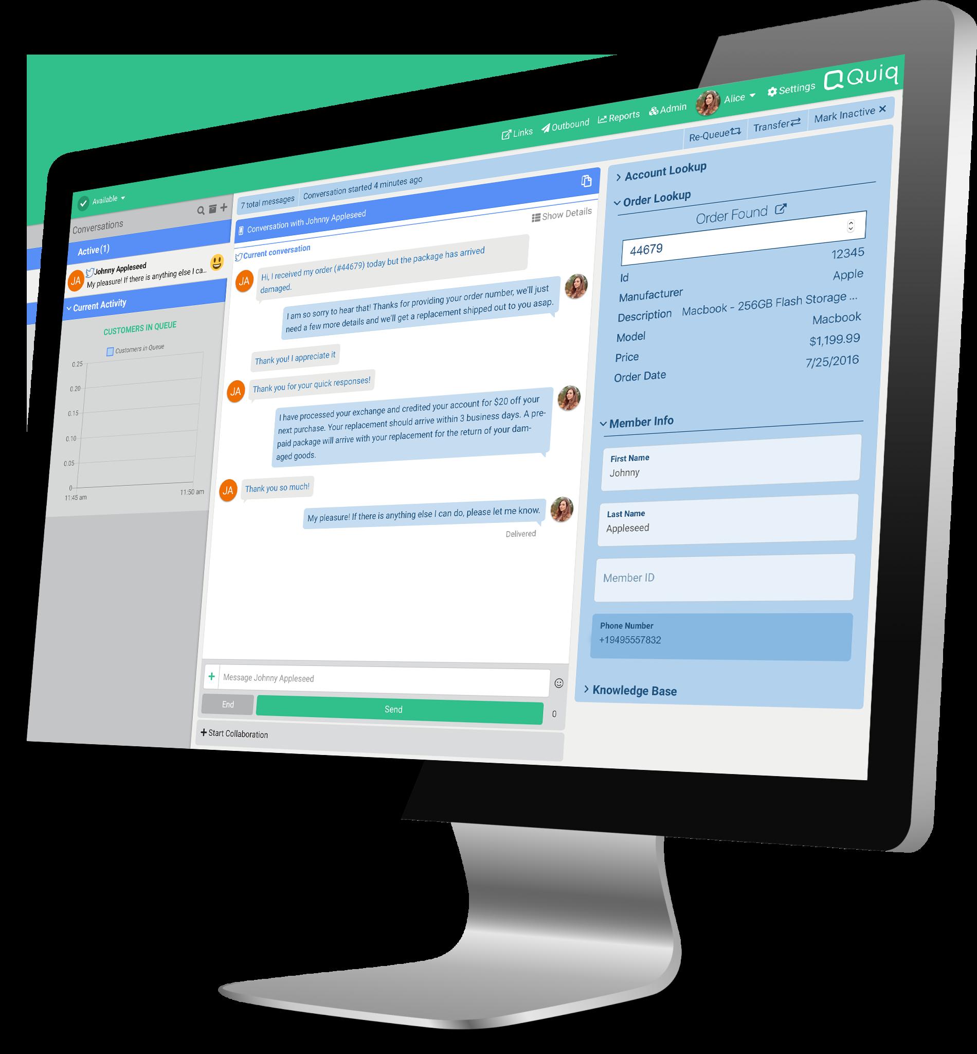 quiq bot messaging on desktop screenshot