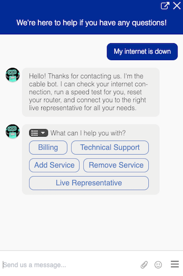 screenshot of Quiq bot chatting with a customer