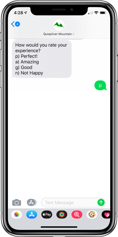 feedback bot screenshot on iPhone