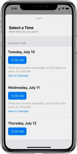 Use rich messaging to schedule appointments
