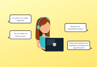 Graphic of a customer service agent with a laptop communicating with a customer