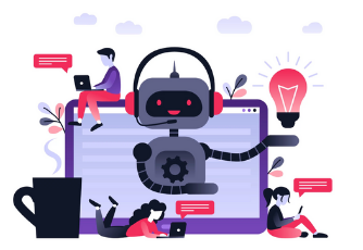 Chatbots and eCommerce graphic with happy robot and vector images