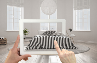 AR Chat for retail. Shopper using Augmented Reality to purchase a bed