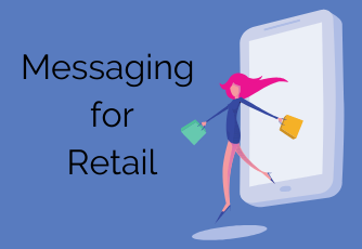 Messaging for retail graphic with woman shopping from a mobile phone