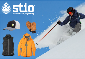 Stio skiing clothing advertisement