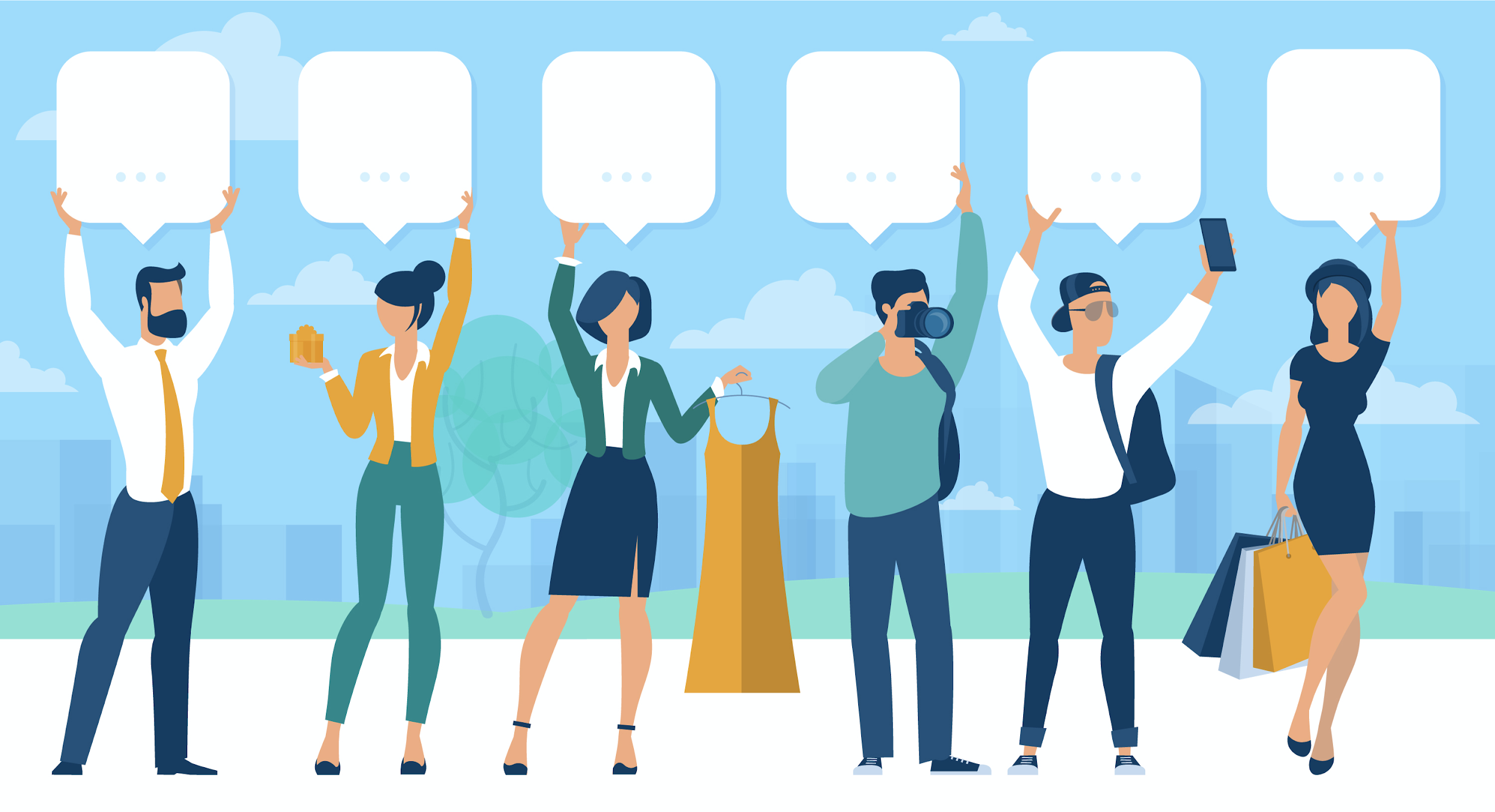Vector image of various business people and citizens with speech bubbles above them