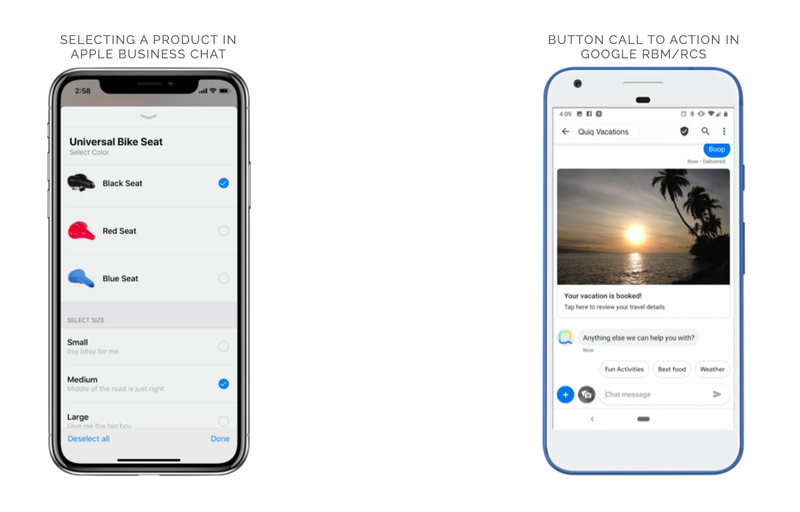 Apple Business Chat and Google Rich Business messaging on two phones
