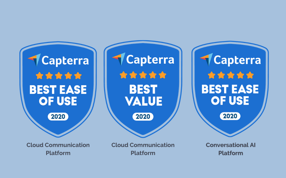 Capterra best badges are awarded to Quiq for Cloud Communications Platform