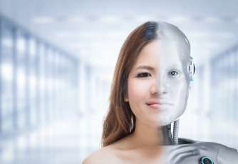 image of a woman on the left combined with a cyborg on the right