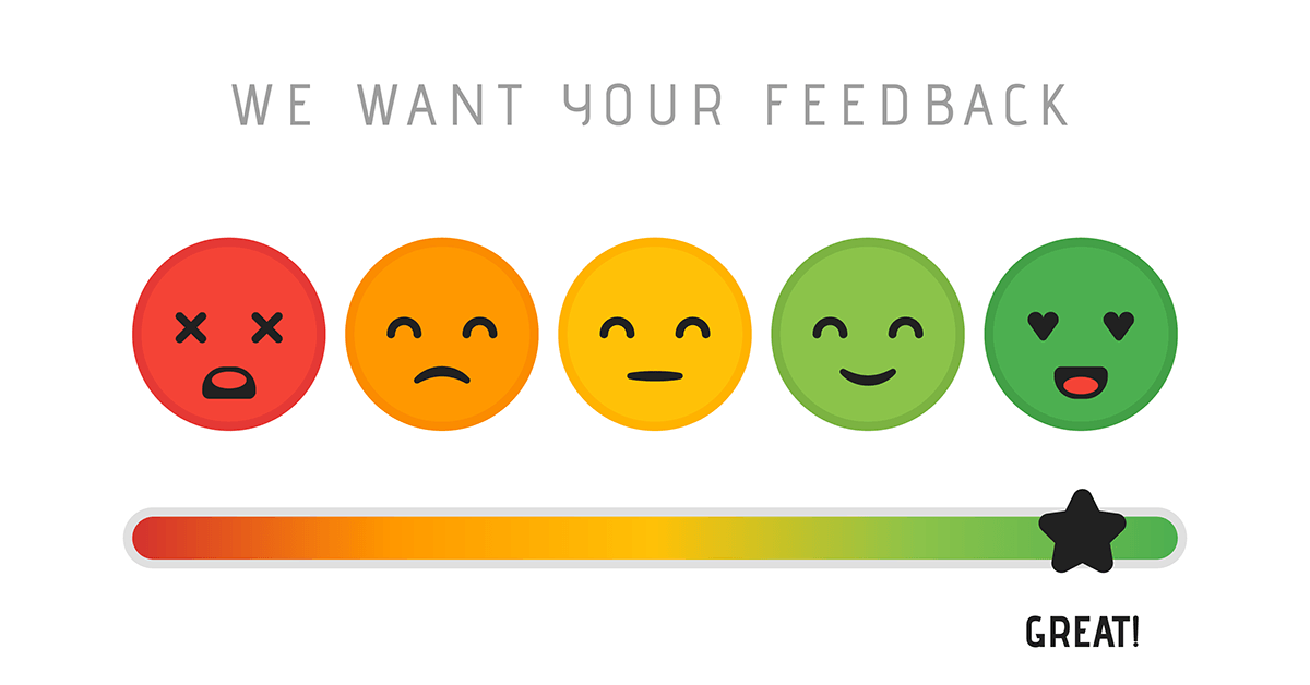 Customer satisfaction scale with a range of bad to great