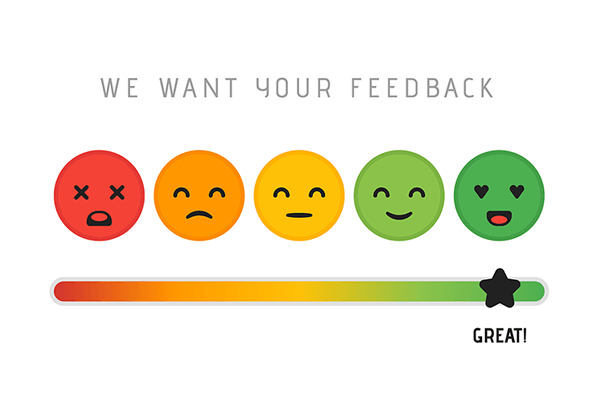 Customer satisfaction and feedback scale with a range of bad to great