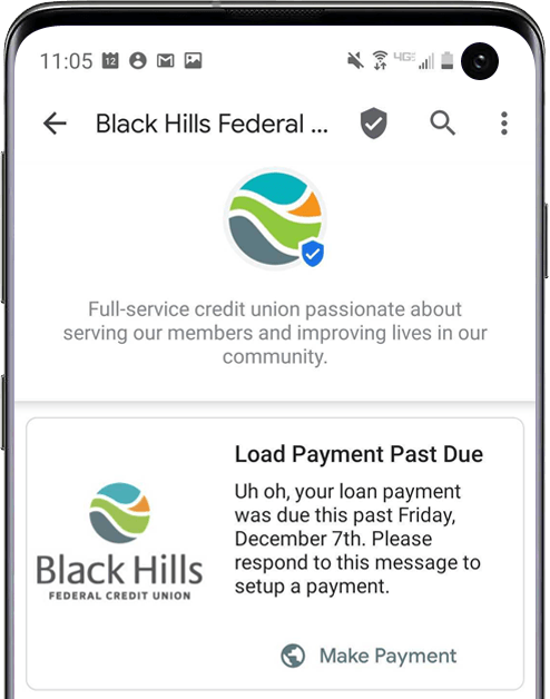 RCS_Business_Messaging_Credit_Union_Industry_Example_Black_Hills_Federal_Credit_Union_Payment_Reminder